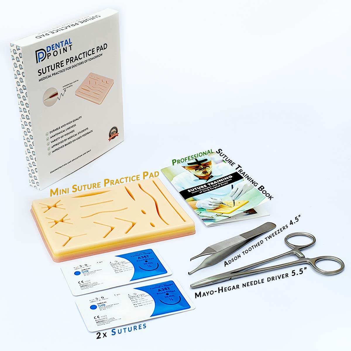 Kit de sutura de silicona duradera para estudiantes de medicina, veterinarios, enfermeras, kit de práctica de sutura | El regalo perfecto