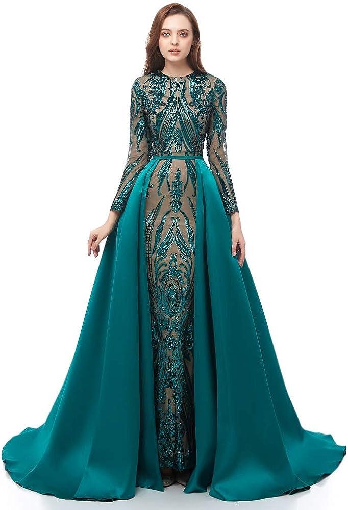 Leyidress Mermaid Evening Dress Detachable Train Prom Party Dress Celabrity Gown