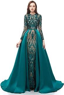Sequin Mermaid Evening Dresses Detachable Train Trumpet Prom Party Dresses Celabrity Pageant Gown