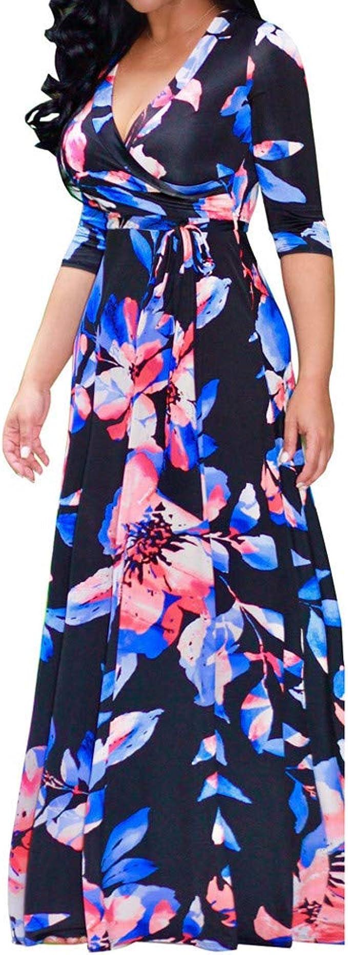 Damen Sommerkleid,Lang Kleider Maxikleid Strandkleid Damen Elegante  Abendkleid Partykleid Übergröße Kleid mit O Ausschnitt Applikationen ...