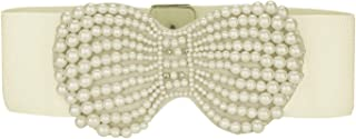 uxcell® Woman Faux Pearl Bowknot Press Stud Button Stretchy Waistband Cinch Belt