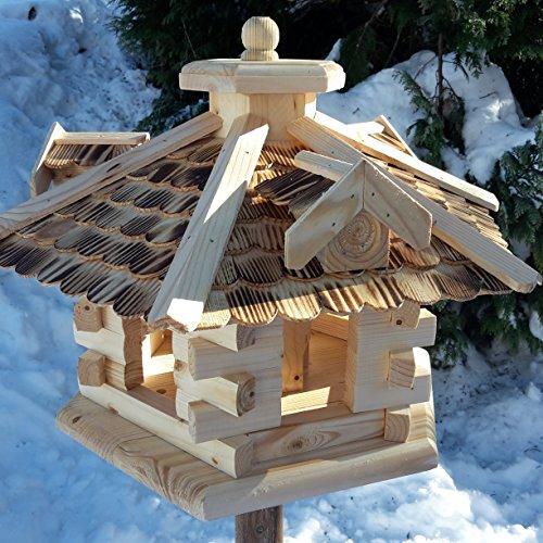 Naturholz-Schreinermeister Qualitäts Vogelhaus mit Holzschindeln 6 Eck lasiert Vogelhäuser-Vogelfutterhaus großes Vogelhäuschen-aus Holz Wetterschutz (Natur)