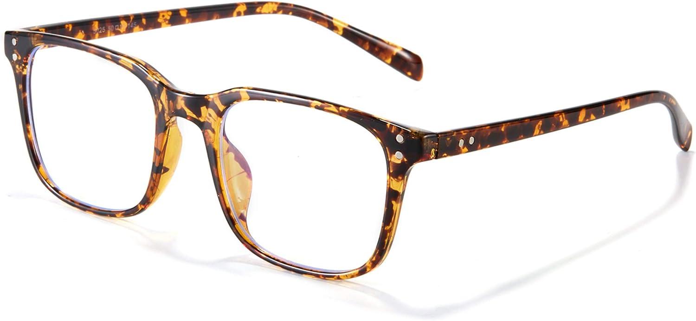 Effnny Bloqueo de luz azul Gafas anti fatiga filtro UV juegos de computadora monturas de gafas de lectura Para hombres mujeres 5025 (Tortuga)