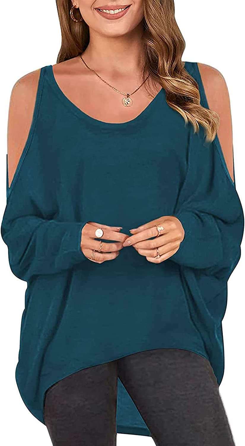 Women's Batwing Sleeve Off Shoulder Loose Oversized Baggy Tops Pullover Casual Plain Blouse T-Shirt