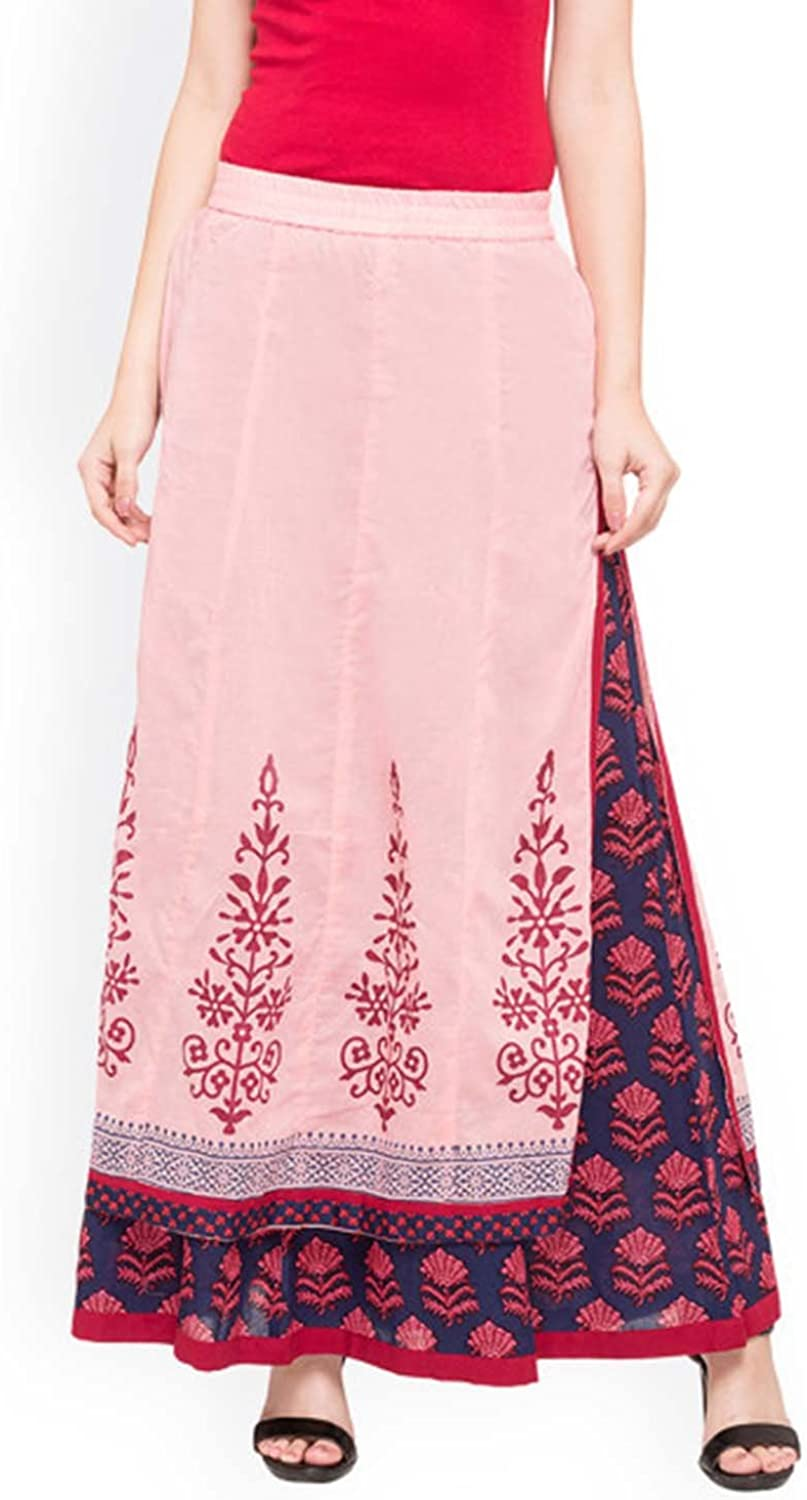 Indian Handicrfats Export Inddus Women Navy bluee Solid Flared Maxi Skirt (Size  S)