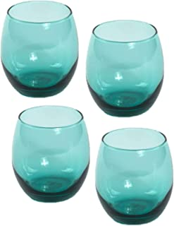 Teal Green Stemless Red Wine Chardonnay 11.5 ounce, Set of 4- Lowball, Rocks, Cocktails, Whiskey, Old Fashioned Glasses