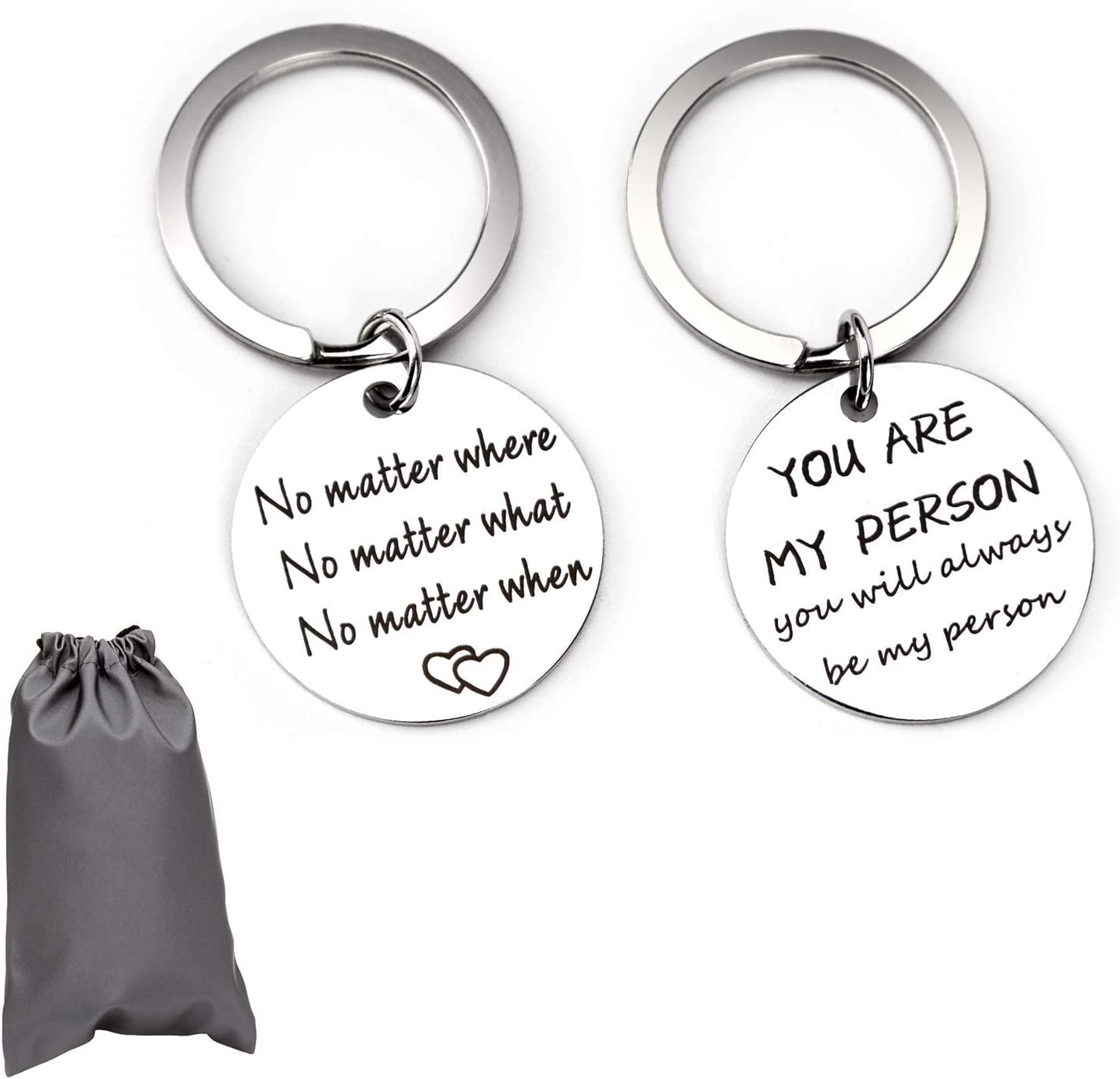 AIEX 2PCS Couples Keychains Stainless Steel Pendant Lover Keychain You are My Person You Will Always Be My Person Best Friends Gift for Valentines Day Anniversary Wedding Birthday Gift