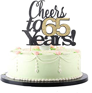 LVEUD Black Font Golden Numbers Cheers to 65 Years Happy Birthday Cake Topper -Wedding,Anniversary,Birthday Party Decorations (65th)