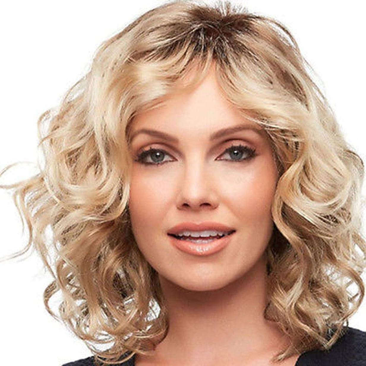 写真トースト昼寝Yrattary 女性のブロンドの短い巻き毛のふわふわのかつらヘアスタイリングミドルパートウィッグ女性の合成のかつらレースのかつらロールプレイングかつら (色 : Blonde)