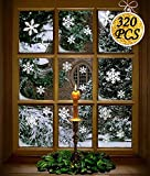Moon Boat 272PCS Christmas Snowflakes Window Clings Decals Winter Wonderland Decorations Orname…