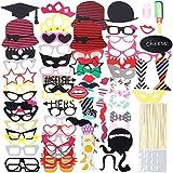 Lictin photo booth props 86 pezzi Accessori fai da te colorati occhiali baffi labbra farfallino cappelli su bastoni per matrimonio partito Natale compleanno