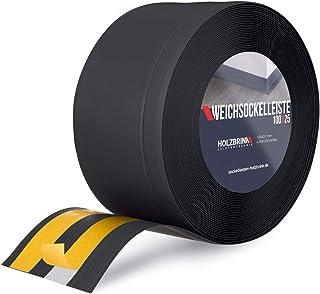 HOLZBRINK zelfklevende zachte plint, zwart PVC lamel 100x25mm, 5 m