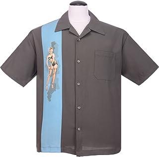 steady 服装单 pin-up 面板衬衫 MAN ,男式,单摇滚风面板