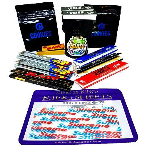Smokers Ensemble de boîtes à cigarettes à rouler – Kit de panier à fumer – 4 pièces de broyeur à herbes, 3 papiers Vibes King Size et 1 pointe en verre + autres articles de cadeaux bruts
