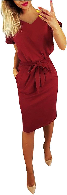 Kaideny Dress for Women Sexy Multicolor V-Neck Printed Side Pockets Slim Hips Dress