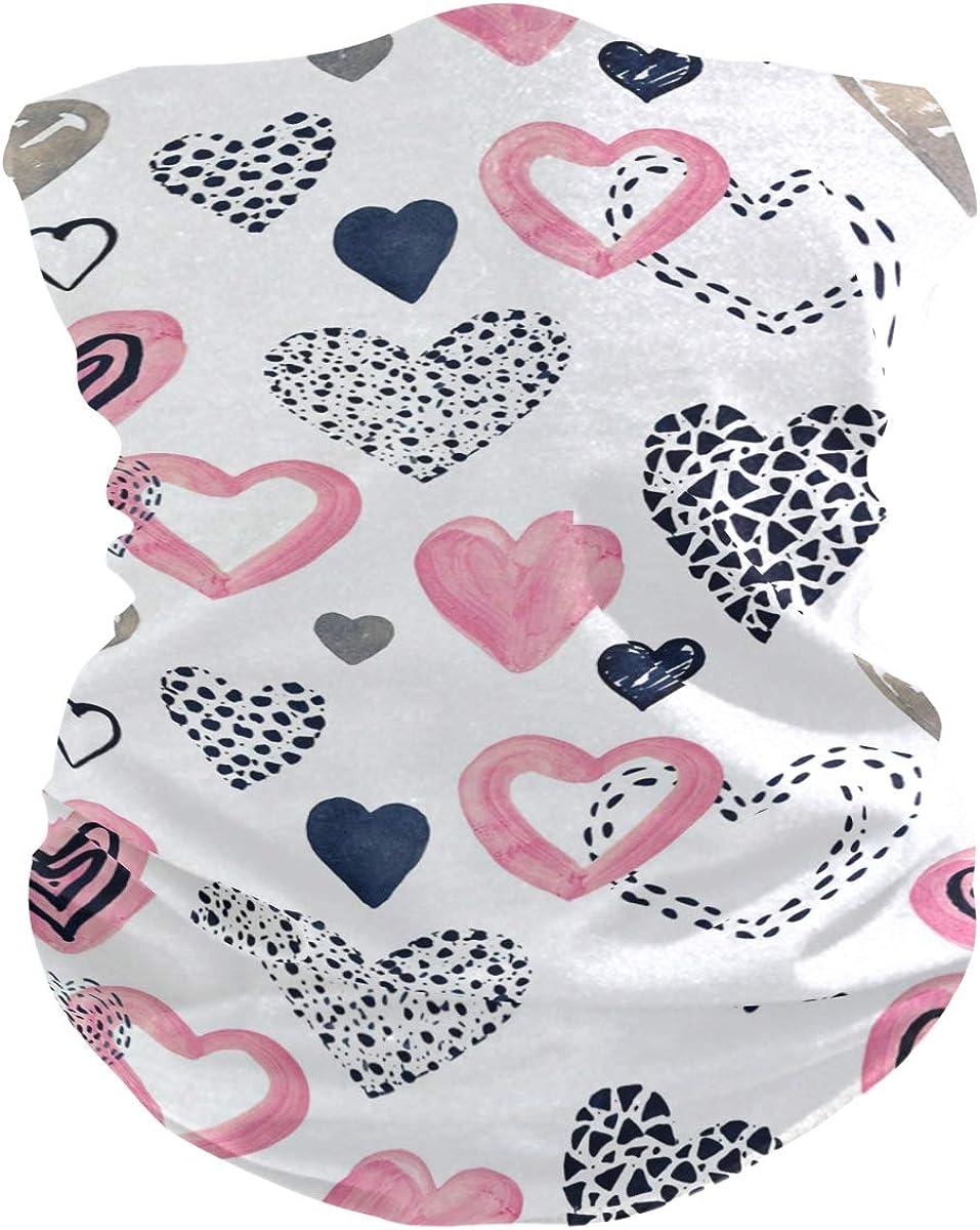 senya Neck Gaiter Face Mask, Hearts In Graphic Style Face Sun Dust Mask Magic Scarf Headwear Bandana for Running Fishing Outdoor Sport