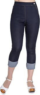 Hell Bunny Ronnie Denim Jeans 50s Vintage Retro Capri Trousers 3/4 Pedal Pushers