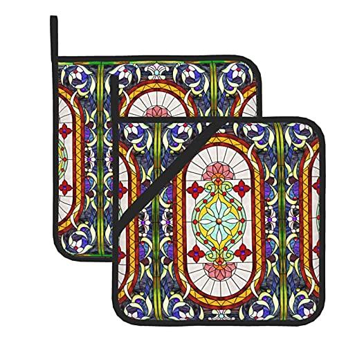 HaiYI-ltd Juego de 2 soportes para ollas, de Oriente Medio Art Nouveau, vidrieras y vidrieras con bucle, resistentes al calor, juego de almohadillas calientes para cocinar al horno y a la parrilla