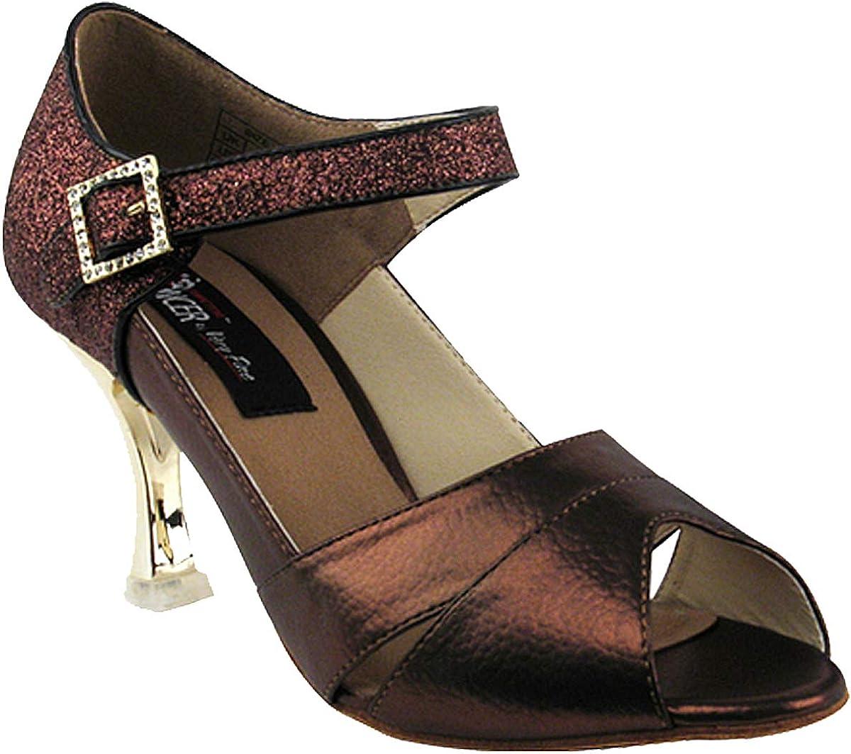 Very Fine Women's Salsa Ballroom Tango Dance Shoes Style CD3010 Bundle with Plastic Dance Shoe Heel Protectors, Copper Stardust 8.5 M US Heel 3 Inch
