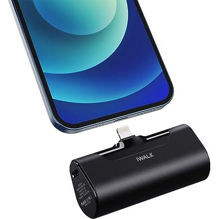 iWALK 小型 モバイルバッテリー 4500mAh Lightning コネクター内蔵 コードレス 直接充電 iPhone 12/11/SE2/XS/XR/X/8/8 Plus/7/6/6S/iPod 充電対応 PSE認証済 ブラック