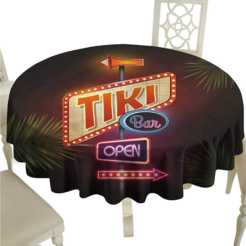 ScottDecor Dinning Tabletop Decoration Tiki Bar,Neon Sign Design Jacquard Tablecloth Round Tablecloth D 50