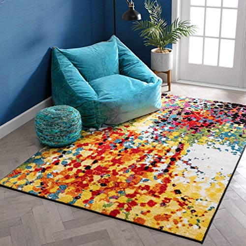 Impasto Multi Geometric Red Yellow Blue Modern Abstract Painting Area Rug 8x10 (7'10' x 9'10') Easy Clean Stain Fade Resistant Shed Free Contemporary Brush Stroke Thick Soft Plush Living Dining Room