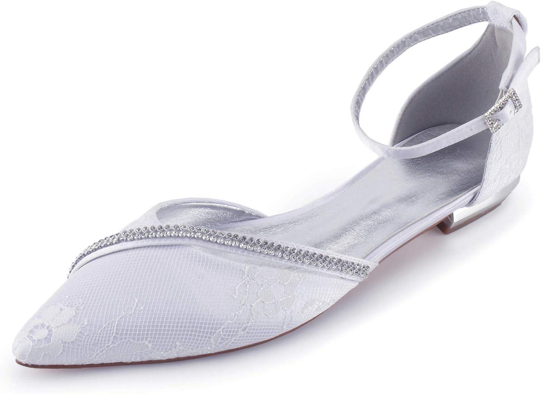 MGEM Women's Dedication Wedding Shoes Pointed Toe Ank Max 60% OFF Flat Satin Lace Pumps
