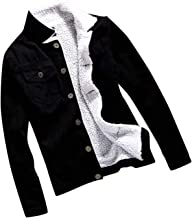 Plus Size Autumn Winter Denim Jacket Women Upset Denim Jacket Vintage Thicken Jeans Coat Lapel Button,Black,XL,China