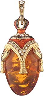 Russian Faberge Style Egg Pendant/Charm with crystal 1 3/8'' amber color #0716