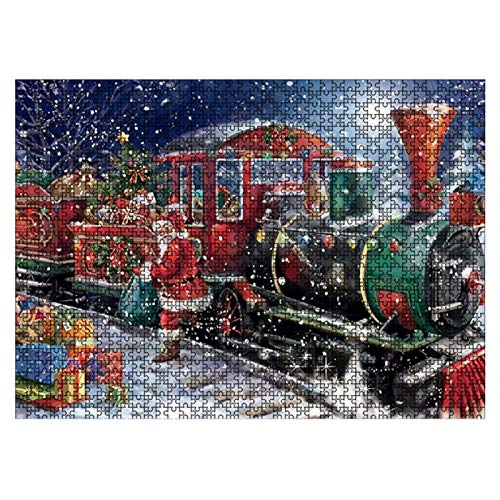 Jigsaw Toy Funny Family Holiday Santa Claus DIY Decompressing 1000 Pieces tmas Decor Game Educational Gift Landscape Kids Adults Brain Challe(1)