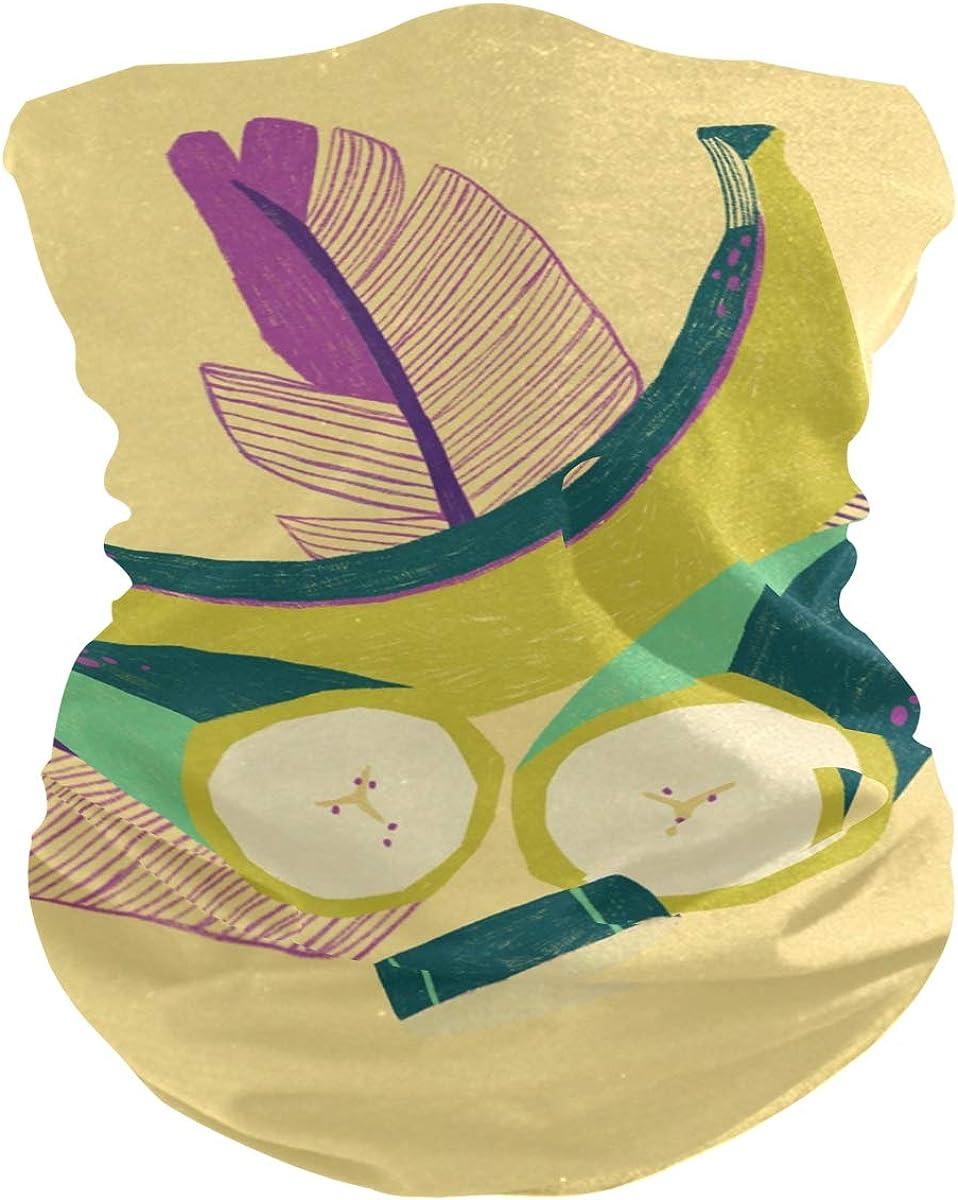 Banana Art PaintingPrint Headband Face UV Sun Protection Mask Neck Gaiter Magic Scarf Bandana Headwear Balaclava for Women Men
