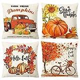 floridliving set di 4 cuscino basso quadrato, federe per decorazioni autunnali, federe in cotone e lino per divano, divano, letto, decorazioni per la casa 45 x 45 cm (pumpkin)