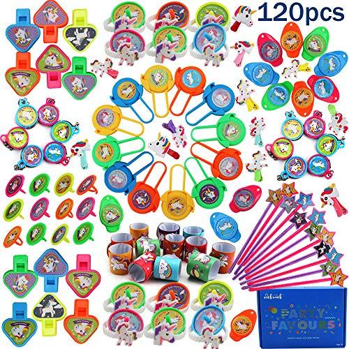 nicknack Unicornio Relleno de bolsas de fiesta 120 piezas, relleno de piñatas de unicornio, surtido de juguetes de recuerdo de fiesta para niños
