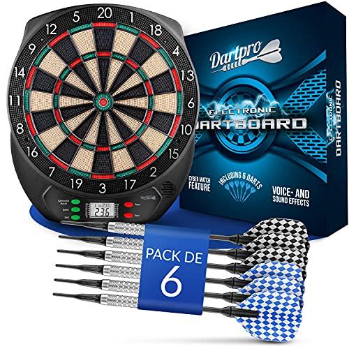 DartPro Diana electrónica - Juego de diana con 6 dardos de punta suave [utilizables sin cables] - Diana innovadora con 65 variaciones - [para 1- 8 jugadores]