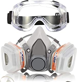 Respirator Dust Mask with Anti-Fog Safety Goggle Half Facepiece Gas Mask Set Reusable Against Dust/Vapors/Smells/Fumes/Sawdust/Asbestos Suitable for Painting,Staining,Car Spraying,Sanding &Cutting