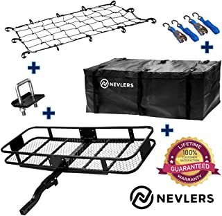 Nevlers Folding Hitch Mount Cargo Carrier with Net, Cargo Storage Bag, 2 Blue Straps and 2 Blue Ratchet Straps and Bonus Hitch stabilizer - Waterproof - 500 lb Weight Limit
