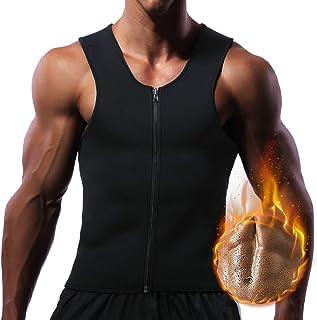 Men Hot Neoprene Waist Trainer Vest Workout Sauna Suit Smooth Zipper Tank Top Weight Loss Corset Body Shaper Gym Sweat Shirt