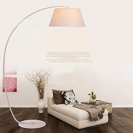 LILY ファブリックノルディック釣りライト、アメリカンミニマリスト寝室居間フロアランプ (Color : White)