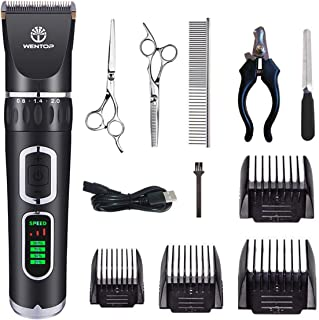 WenTop Dog Clippers 3-Speed Dog Grooming Clippers Kit USB Charge Dog Hair Clippers Low Noise Pet Clippers for Small Medium Large Dogs Cats and Other Pets