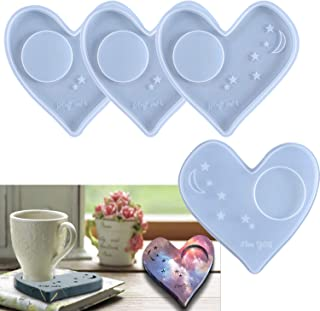 4 Pieces Love Heart Silicone Coaster Tray Making Mold Drinking Cup Mat Pad Resin Epoxy Casting Mould Moon Stars Agate Craf...
