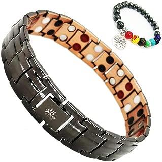 99.9% Pure Copper Magnetic Therapy Bracelet Jewelry Double Row 4in1 Bio Elements Arthritis Pain Relief Benefits + Hematite Beads Wristband Bonus