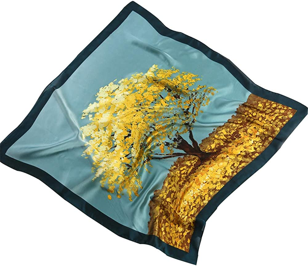 Women's Scarves & WrapsSilk Feeling Scarf Medium Square Satin Head Scarf Lightweight Small Square Neckerchief Mother's Day Gift 27.5 × 27.5 inches
