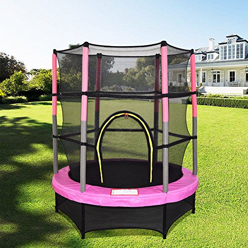 Greenbay 4.5FT 55' Junior Trampoline with Safety Net and Skirt Kids Child Indoor Outdoor Activity Pink