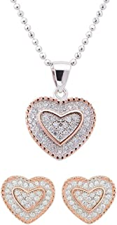 Izaara 92.5 Sterling Silver Heart Shape Pendant & Chain With Stylish Latest Design Earrings Gift for Women & Girls | Party Occasional Daily Wear