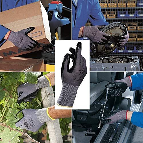MAPA Professional Ultrane 553 – Nitrilhandschuhe für mechanischen Schutz in der Automobilindustrie, bei Behörden, am Bau und in anderen allgemeinen Bereichen, schwarz, Größe 9 (1 Paar), Schutzhandschuhe