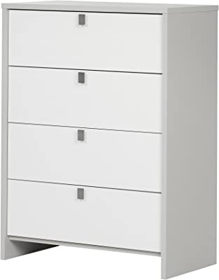 South Shore Cookie 4-Drawer Chest, Soft Gray & Pure White