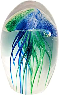UnicGen Jellyfish Blown Glass Art Figurine Paperweight Desk Decor (Green/Blue)