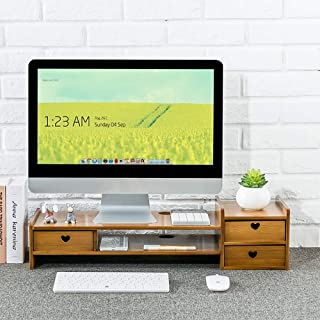 Computer Monitor Stand Riser Natural Bamboo Desktop Storage Organizer Keyboard Office Stationery Computer Screen Increase Rack