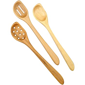American Made Natural Hard Maple Wood Angled Cooking and Mixing Spoons, Set of 3 (Right Handed Version)