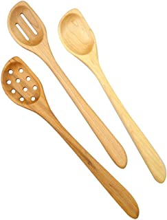 American Made Natural Hard Maple Wood Angled Cooking and Mixing Spoons, Set of 3